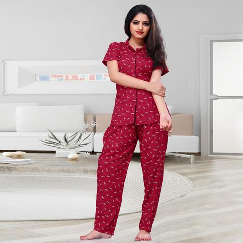 Energetic Red Colored Printed Cotton Rayon Night Suit