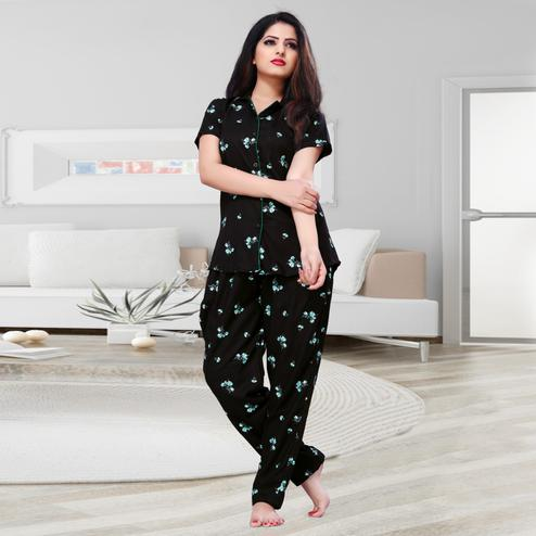 Glowing Black Colored Printed Cotton Rayon Night Suit