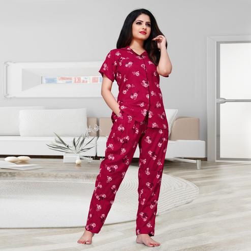 Exceptional Red Colored Printed Cotton Rayon Night Suit