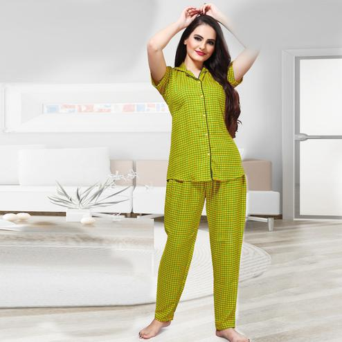 Mesmeric Lemon Yellow Colored Printed Cotton Rayon Night Suit