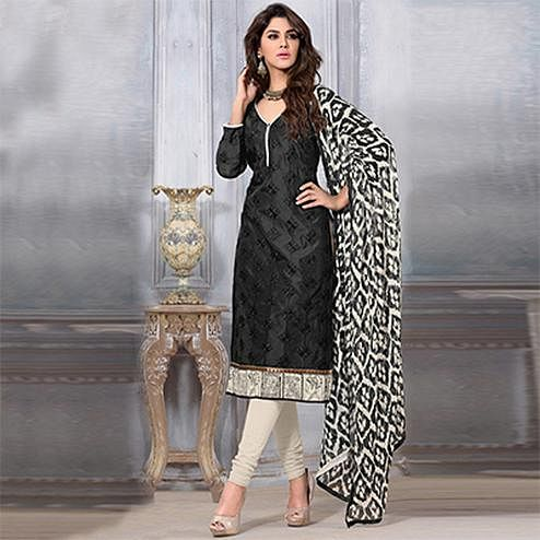 Charming Black Colored Chanderi Dress Material