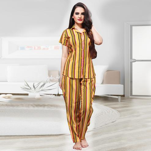 Demanding Yellow - Multi Colored Printed Cotton Rayon Night Suit