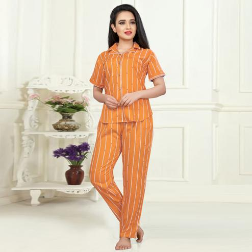 Refreshing Orange Colored Printed Cotton Rayon Night Suit
