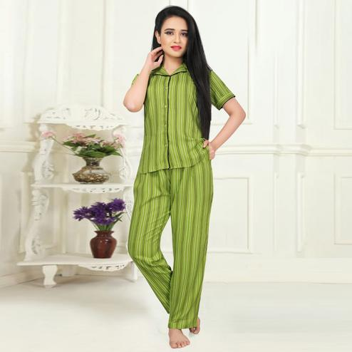 Magnetic Green Colored Printed Cotton Rayon Night Suit