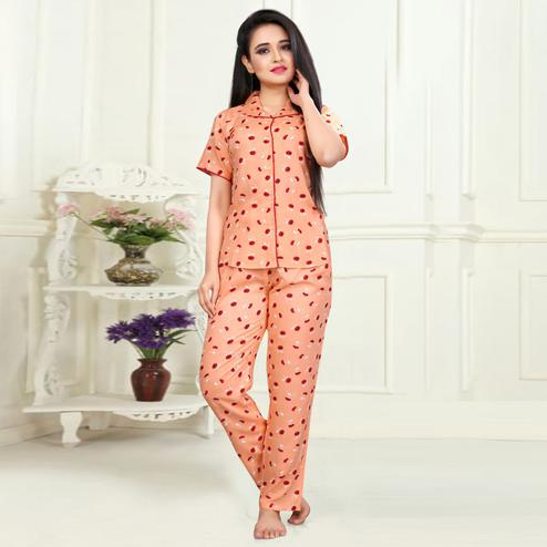 Hypnotic Peach Colored Printed Cotton Rayon Night Suit