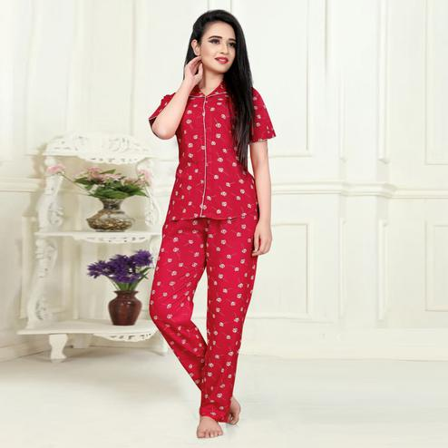 Flattering Coral Red Colored Printed Cotton Rayon Night Suit
