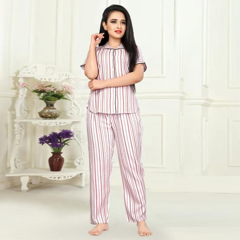 Excellent White Colored Printed Cotton Rayon Night Suit