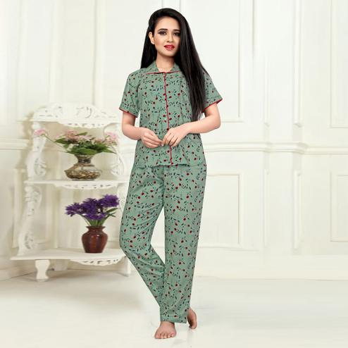 Preferable Dusty Green Colored Printed Cotton Rayon Night Suit
