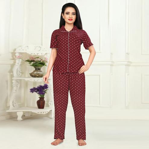 Marvellous Maroon Colored Printed Cotton Rayon Night Suit