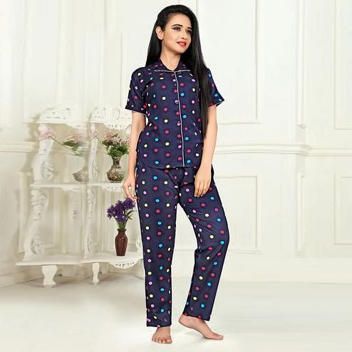 Flamboyant Navy Blue Colored Printed Cotton Rayon Night Suit
