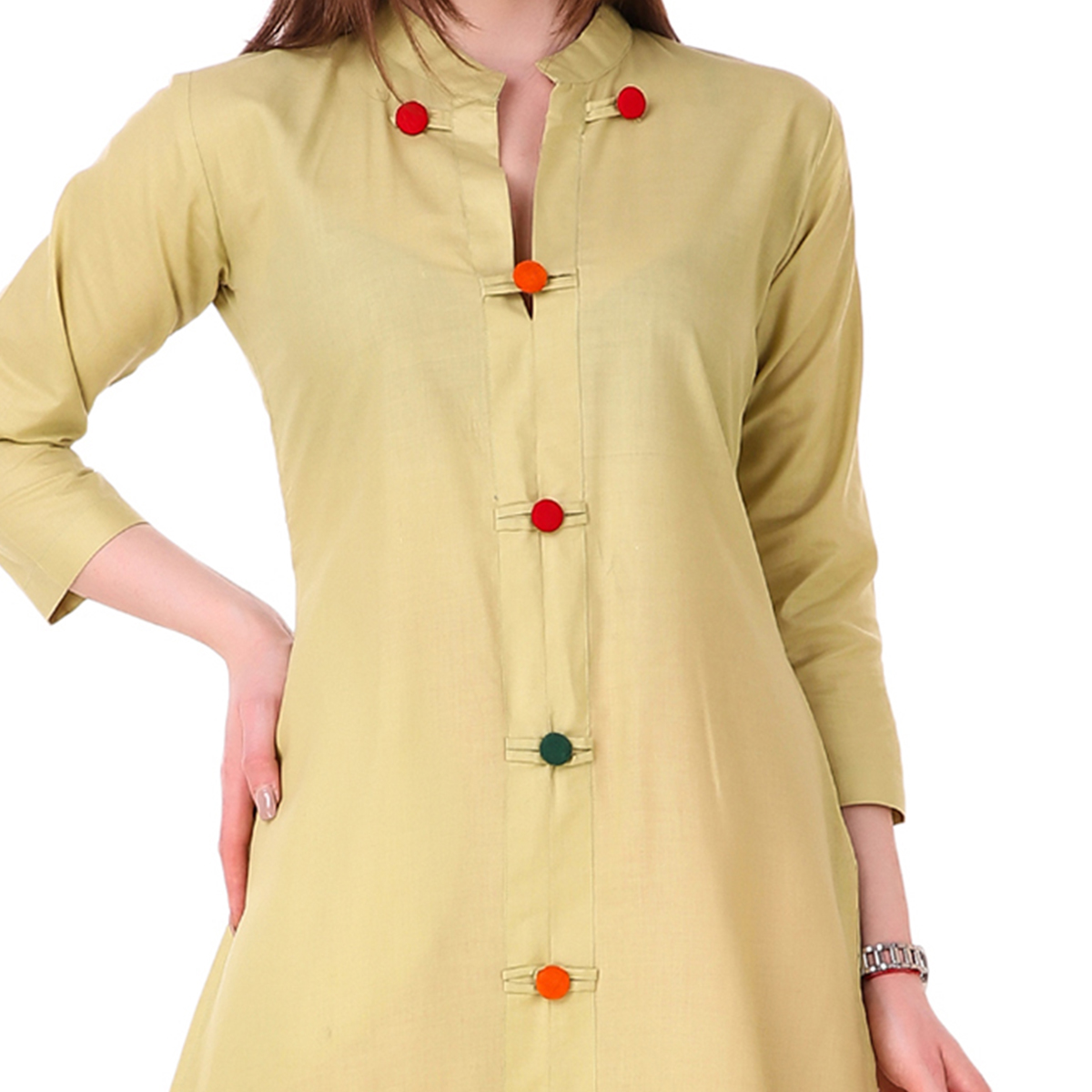 Cream Colored Casual Wear Cotton Kurti