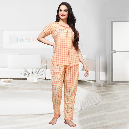 Alluring Cream Colored Checks Printed Cotton Rayon Night Suit