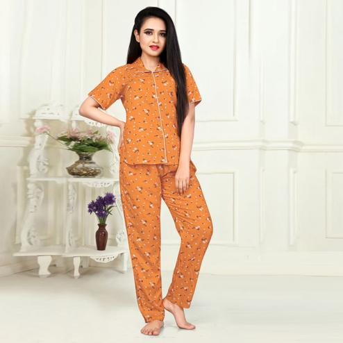 Stunning Orange Colored Printed Cotton Rayon Night Suit