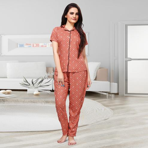 Flirty Peach Colored Printed Cotton Rayon Night Suit