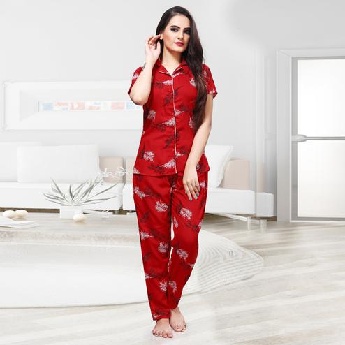 Prominent Red Colored Printed Cotton Rayon Night Suit