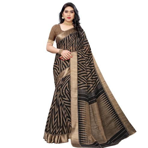 Intricate Black Colored Festive Wear Woven Linen Saree
