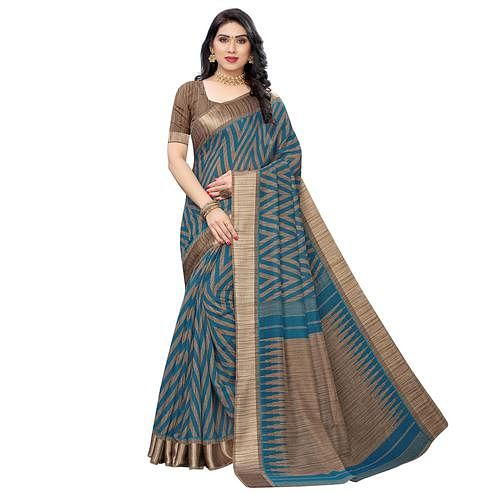 Arresting Rama Colored Festive Wear Woven Linen Saree