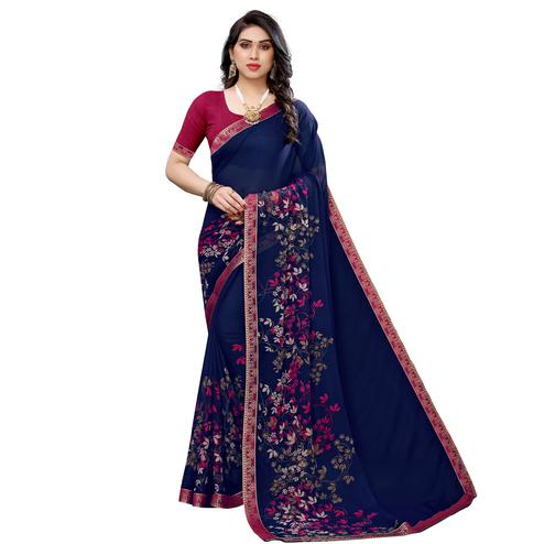 Radiant Navy Blue Colored Festive Wear Woven Georgette Saree