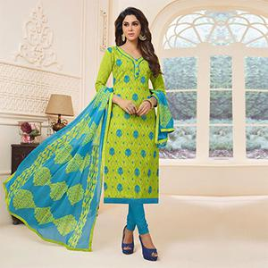 Stunning Green Colored Cotton Dress Material