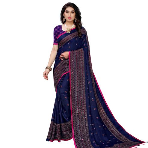 Gleaming Blue Colored Festive Wear Woven Jute Silk Saree