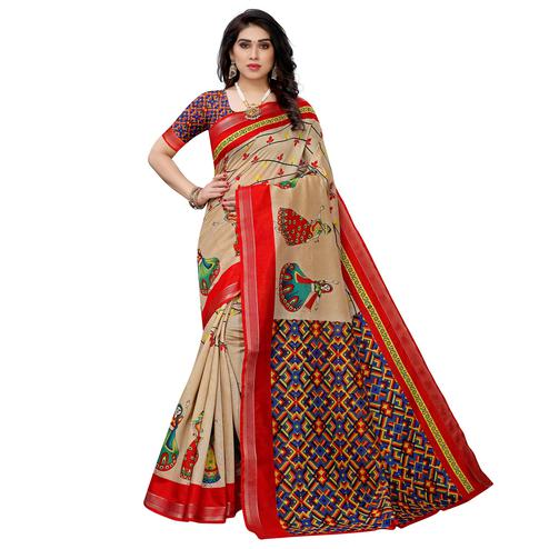 Mesmeric Dark Cream Colored Festive Wear Woven Art Silk Saree