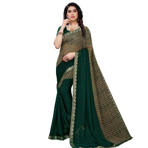 Unique Green Colored Festive Wear Woven Georgette Saree