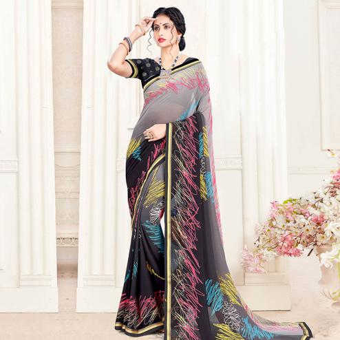 Lovely Grey - Black Colored Casual Wear Printed Georgette Saree