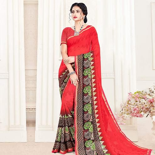 Pleasance Red Colored Casual Wear Printed Georgette Saree