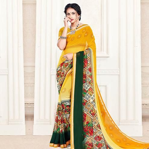 Breathtaking Yellow Colored Casual Wear Printed Georgette Saree