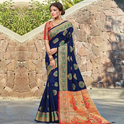 Staring Navy Blue Colored Festive Wear Woven Silk Saree