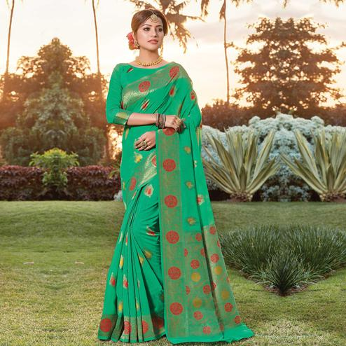 Sophisticated Green Colored Festive Wear Woven Cotton Handloom Saree