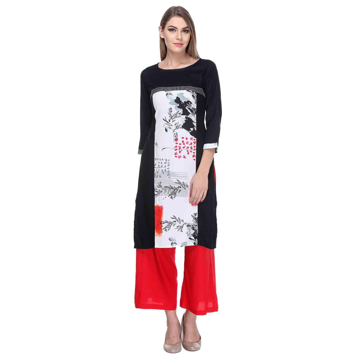 Black - White Abstract Printed Stitched Kurti