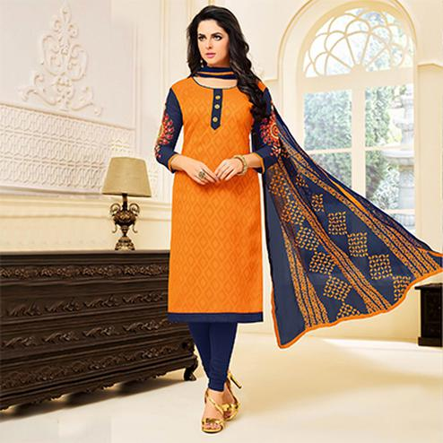 Stylish Orange Colored Cotton Dress Material