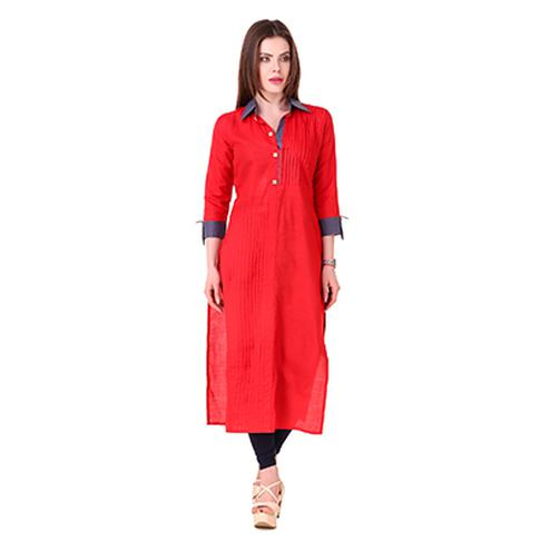 Red Colored Casual Wear Cotton Kurti