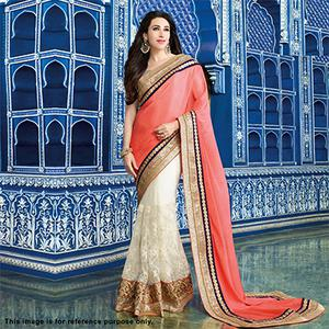 Mesmerising Peach-Off White Designer Partywear Embroidered Half N Half Chiffon And Net Saree