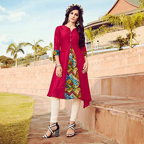 Dazzling Dark Pink Colored Fancy Designer Cotton Muslin Kurti