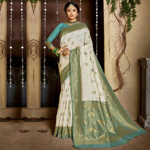 Triveni - White & Green Color Jacquard Silk Party Wear Saree With Blouse Piece