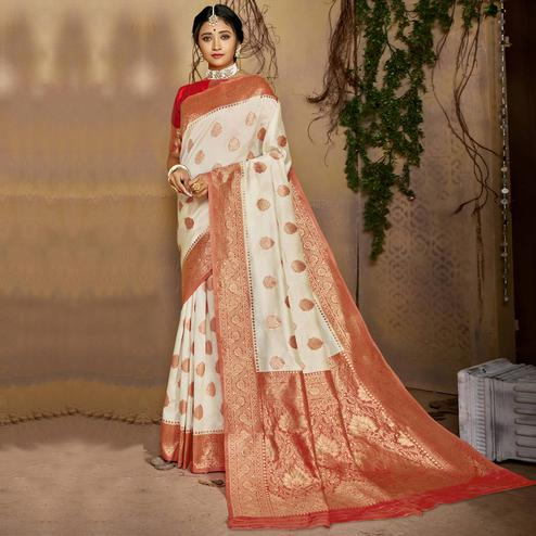 Triveni - White & Red Color Jacquard Silk Party Wear Saree With Blouse Piece