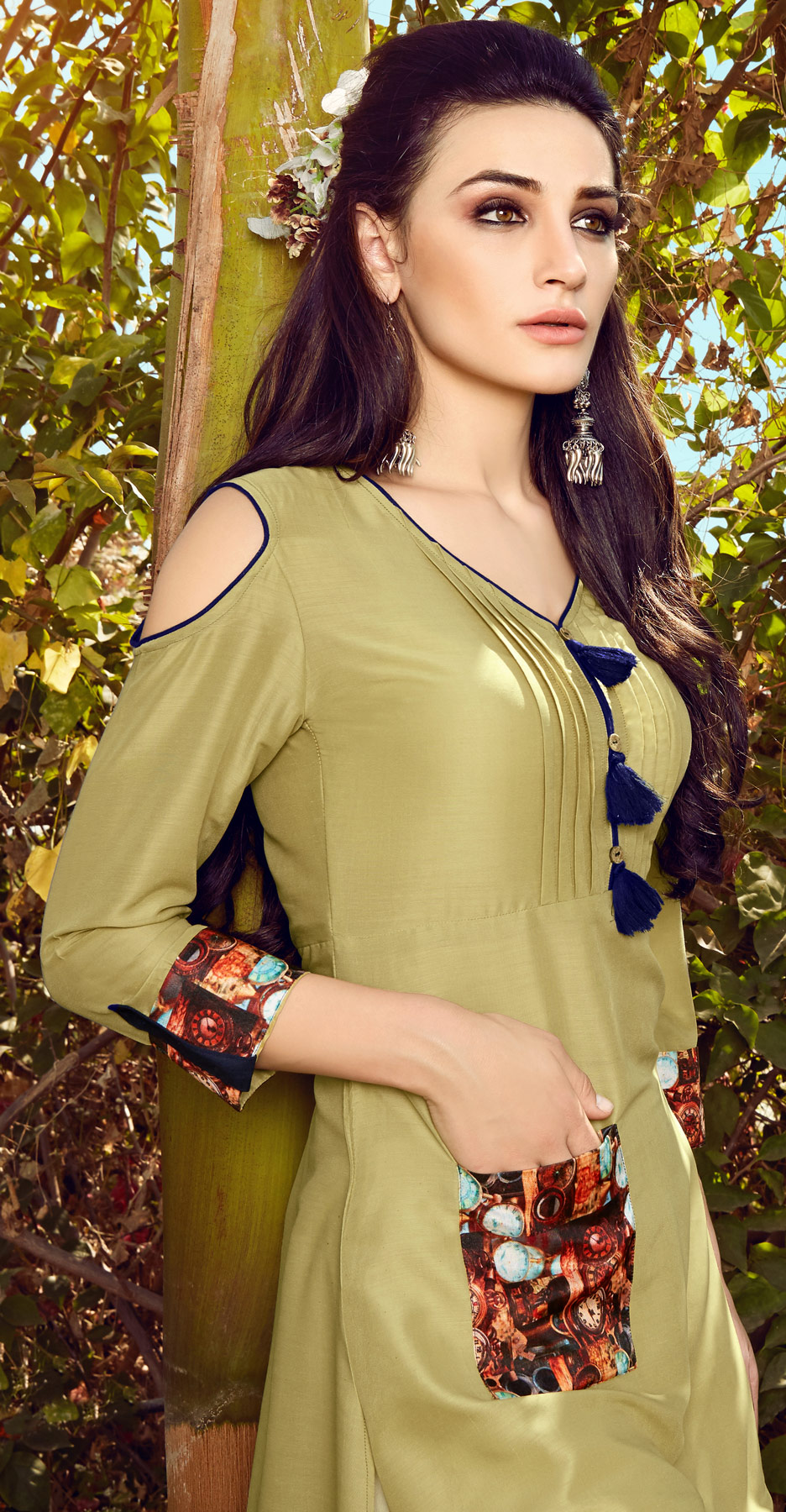 Graceful Pista Green Colored Fancy Designer Cotton Muslin Kurti