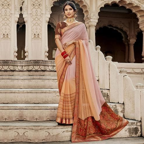 Triveni - Pink & Brown Color Georgette Casual Wear Saree With Blouse Piece