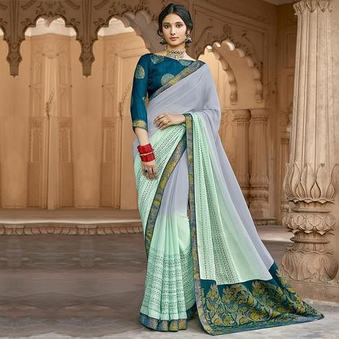 Triveni - Blue & Green Color Georgette Casual Wear Saree With Blouse Piece