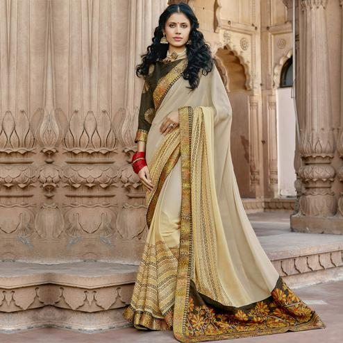 Triveni - Yellow & Beige Color Georgette Casual Wear Saree With Blouse Piece