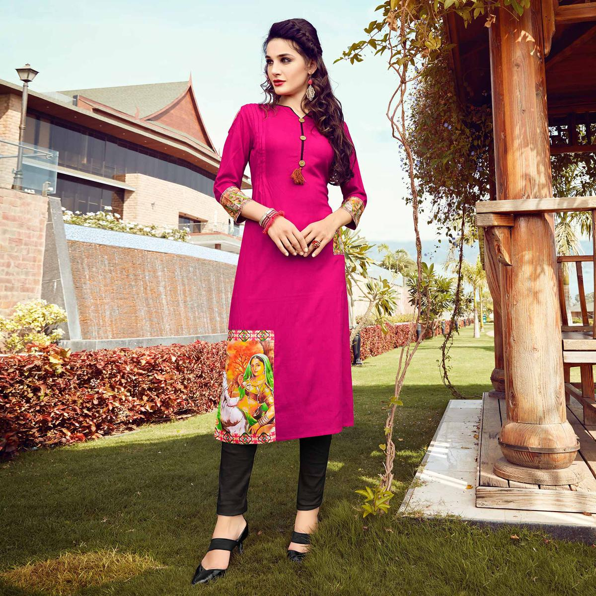 Stunning pink Colored Fancy Designer Rayon Kurti
