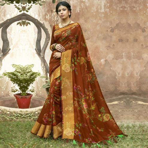 Triveni - Rust Color Cotton Festive Wear Saree With Blouse Piece