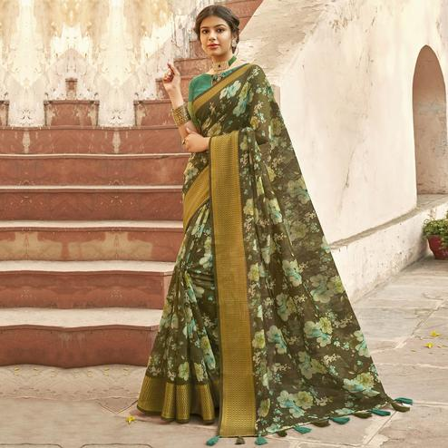 Triveni - Mehendi Color Cotton Festive Wear Saree With Blouse Piece