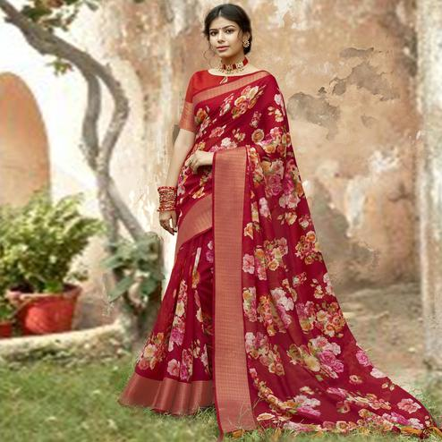 Triveni - Maroon Color Cotton Festive Wear Saree With Blouse Piece
