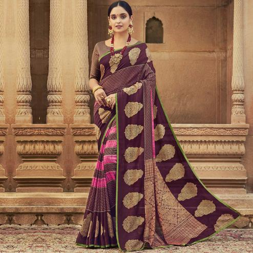 Triveni - Magenta & Pink Color Chanderi Silk Casual Wear Saree With Blouse Piece