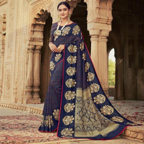 Triveni - Blue Color Chanderi Silk Casual Wear Saree With Blouse Piece
