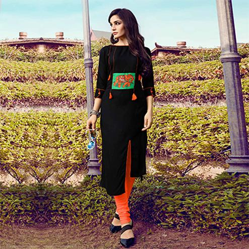 Trendy Black Colored Fancy Designer Rayon Kurti