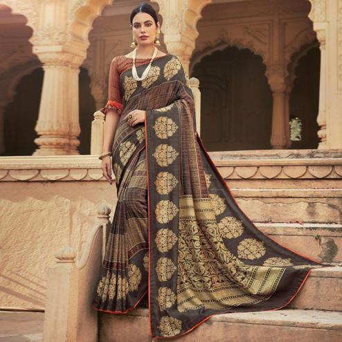 Triveni - Brown & Beige Color Chanderi Silk Casual Wear Saree With Blouse Piece